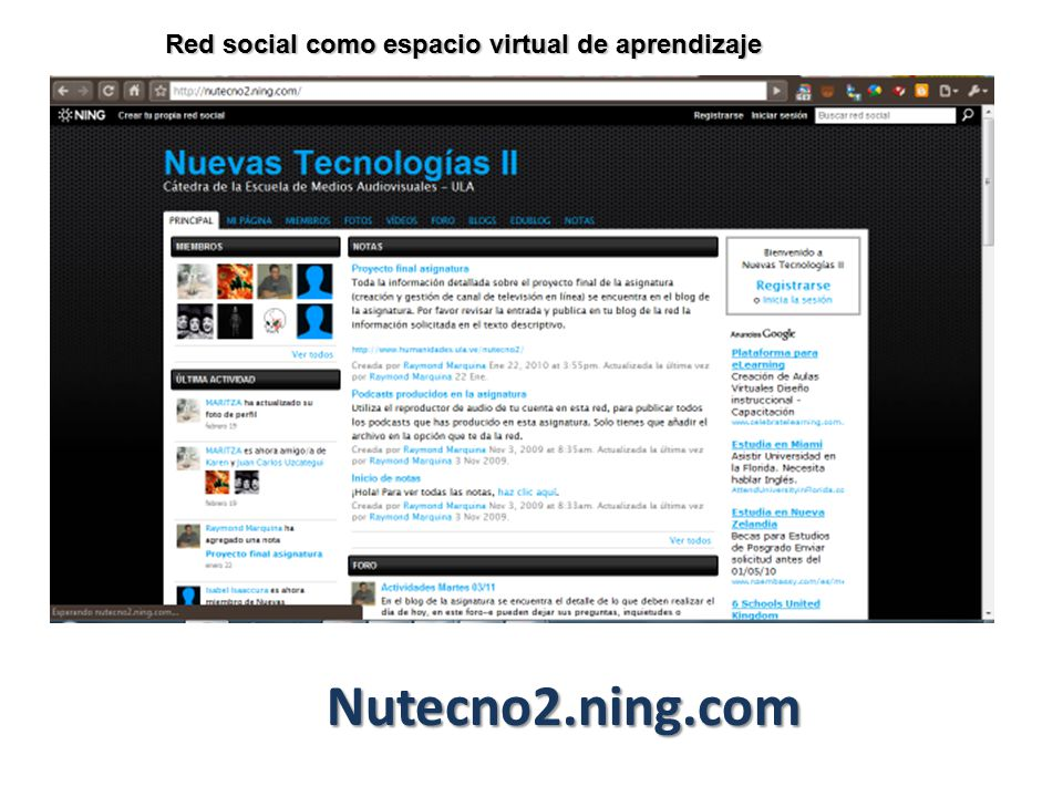 Red social como espacio virtual de aprendizaje