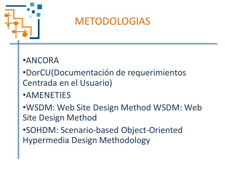 METODOLOGIAS ANCORA. DorCU(Documentación de requerimientos Centrada en el Usuario) AMENETIES.