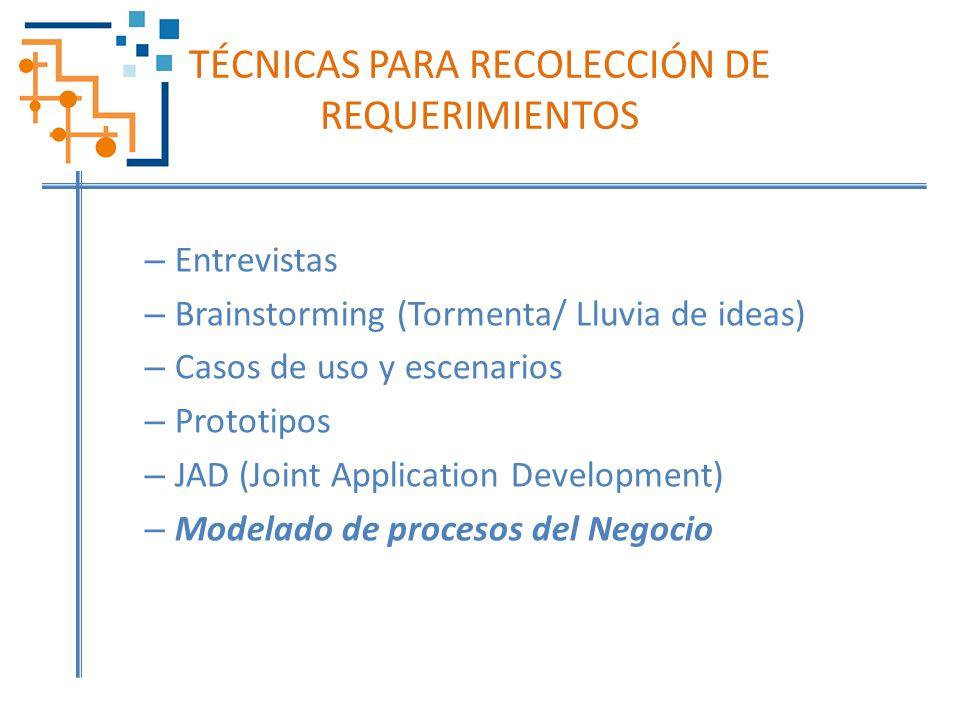 TÉCNICAS PARA RECOLECCIÓN DE REQUERIMIENTOS