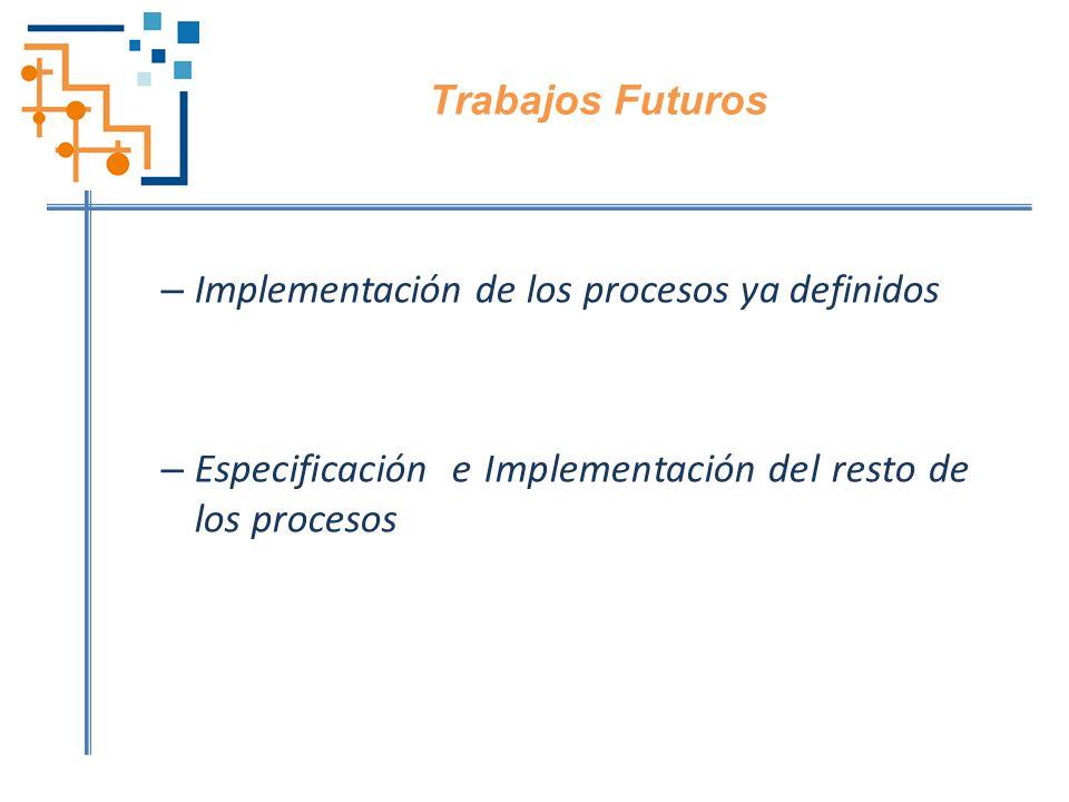 Trabajos Futuros Implementación de los procesos ya definidos.