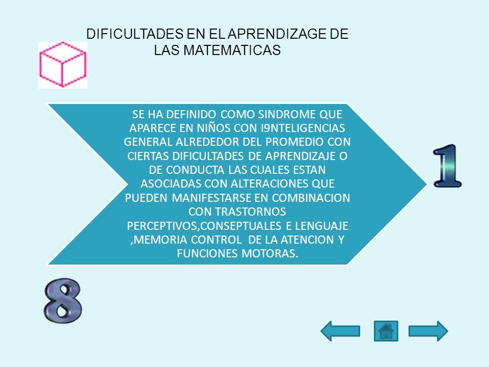 DIFICULTADES EN EL APRENDIZAGE DE LAS MATEMATICAS