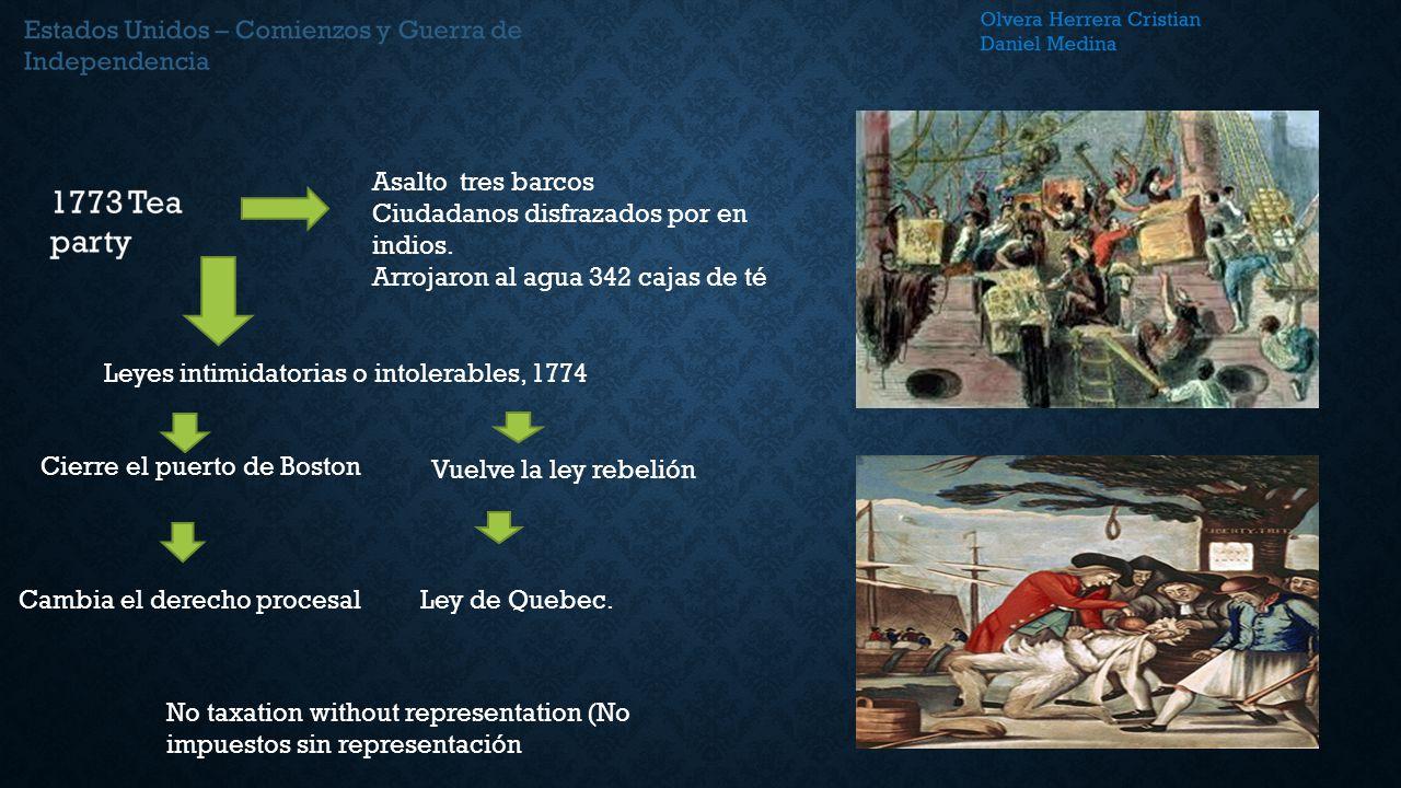 Asalto tres barcos Ciudadanos disfrazados por en indios. Arrojaron al agua 342 cajas de té. Leyes intimidatorias o intolerables, 1774.