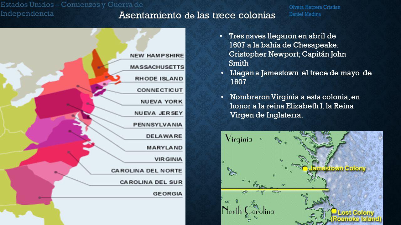 Asentamiento de las trece colonias
