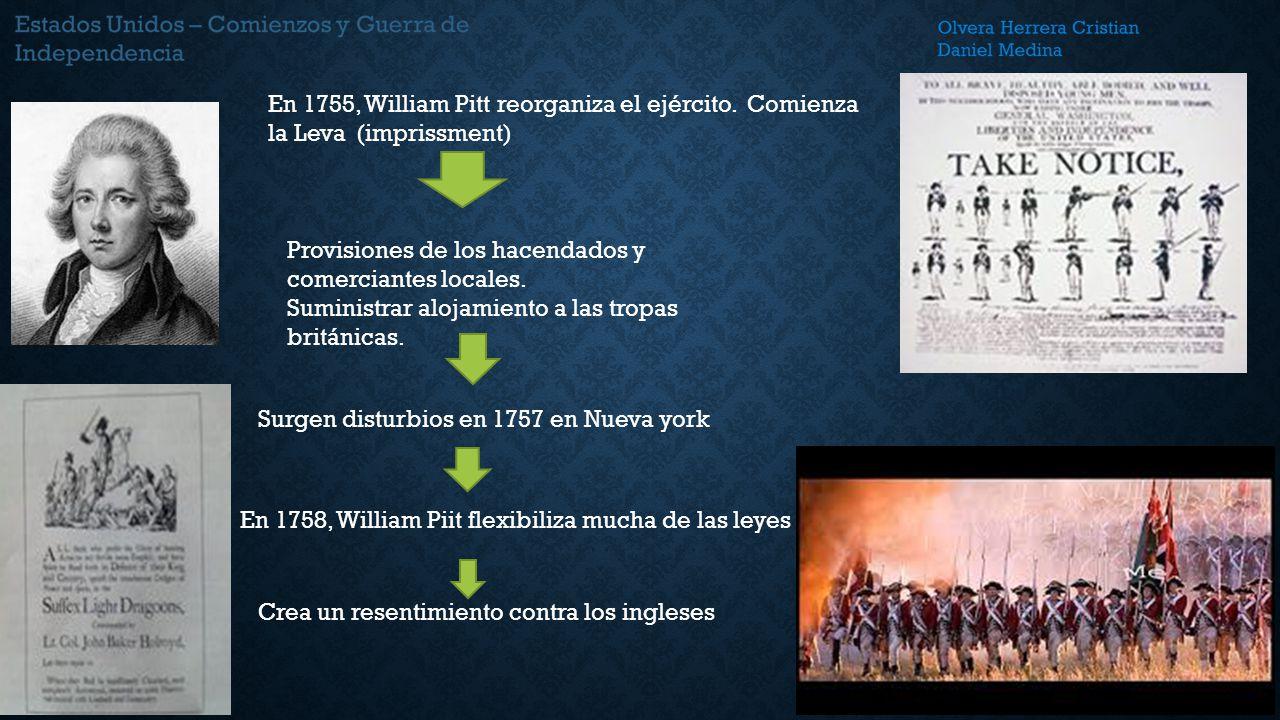 En 1755, William Pitt reorganiza el ejército