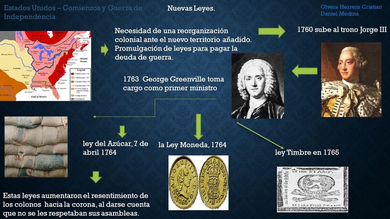 Nuevas Leyes. Necesidad de una reorganización colonial ante el nuevo territorio añadido. Promulgación de leyes para pagar la deuda de guerra.