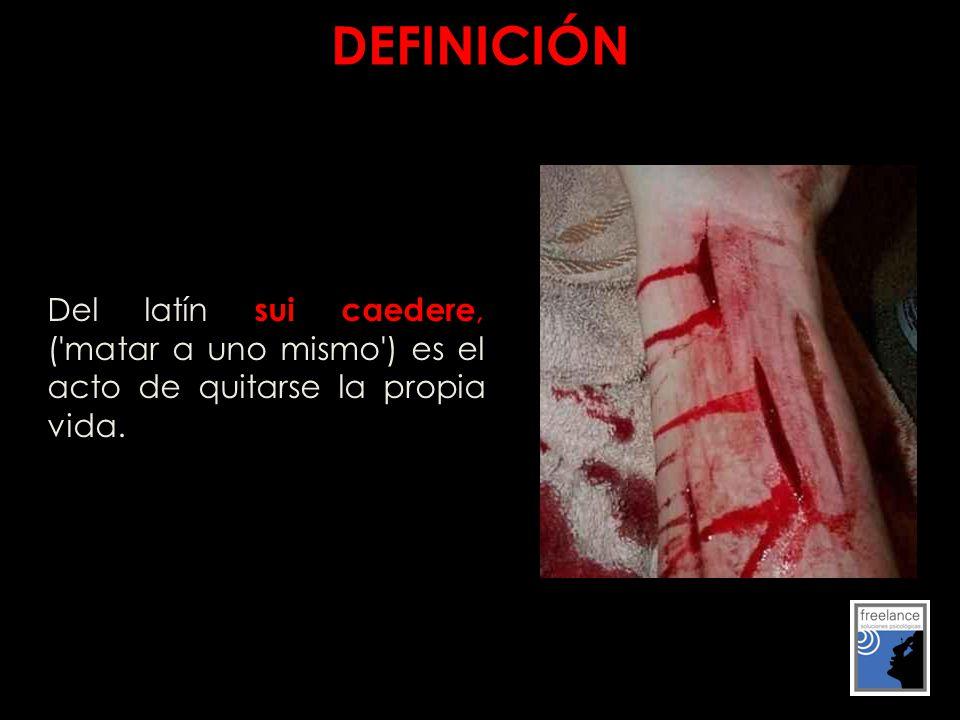 DEFINICIÓN Del latín sui caedere, ( matar a uno mismo ) es el acto de quitarse la propia vida.