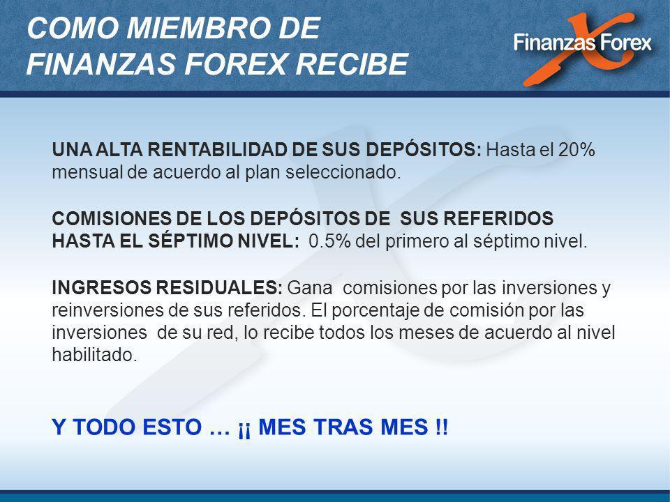 COMO MIEMBRO DE FINANZAS FOREX RECIBE