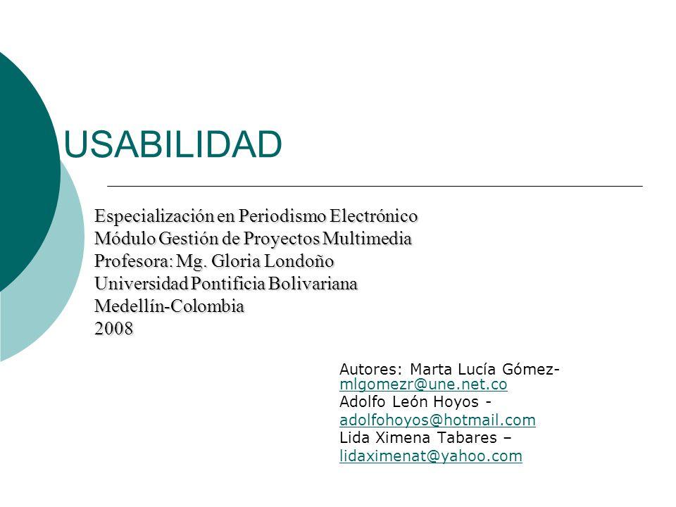 USABILIDAD Especialización en Periodismo Electrónico