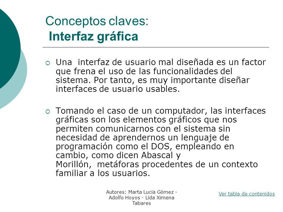 Conceptos claves: Interfaz gráfica