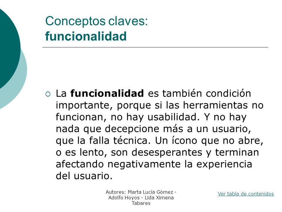 Conceptos claves: funcionalidad