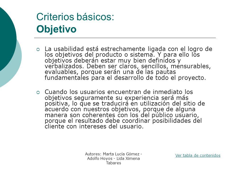 Criterios básicos: Objetivo