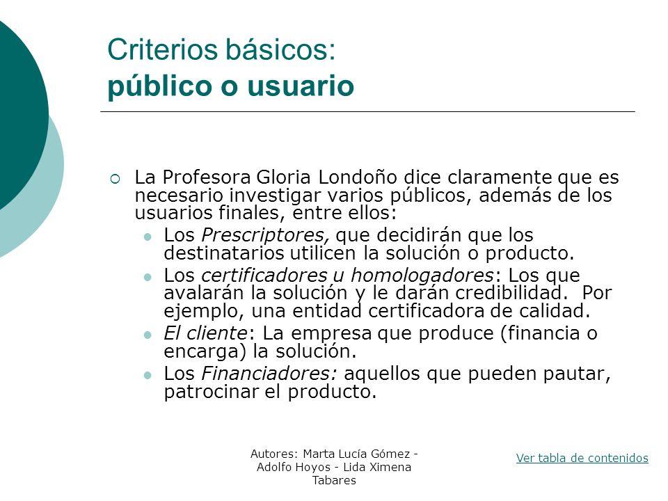Criterios básicos: público o usuario