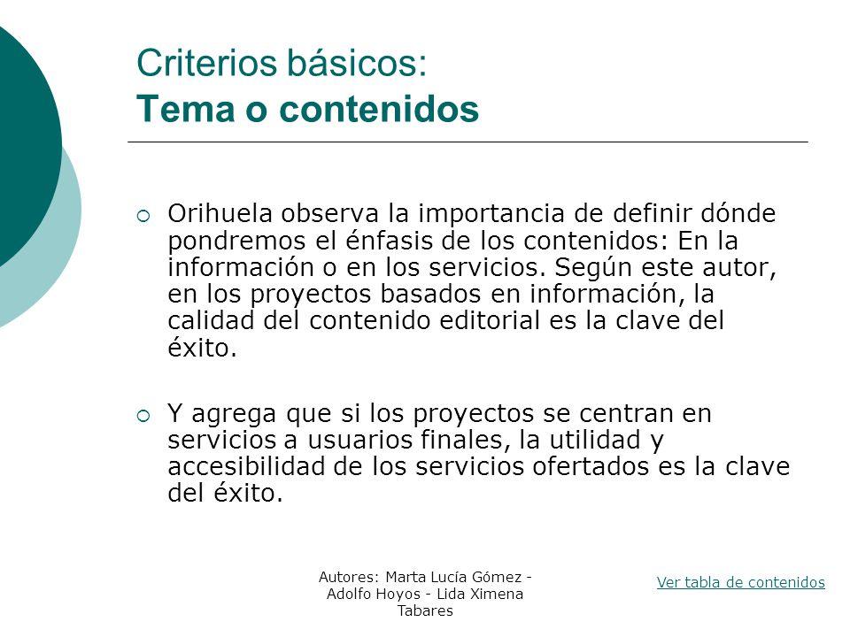 Criterios básicos: Tema o contenidos