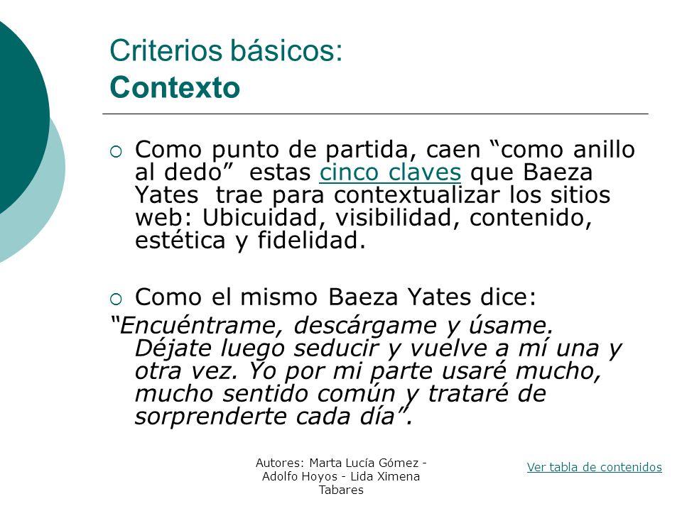 Criterios básicos: Contexto