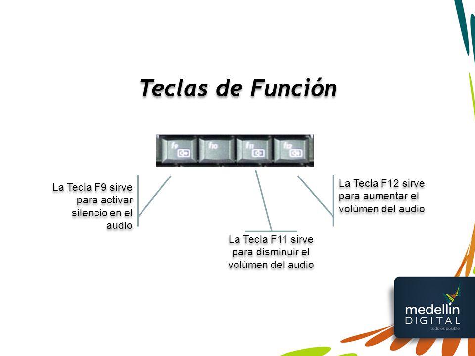 La Tecla F11 sirve para disminuir el volúmen del audio