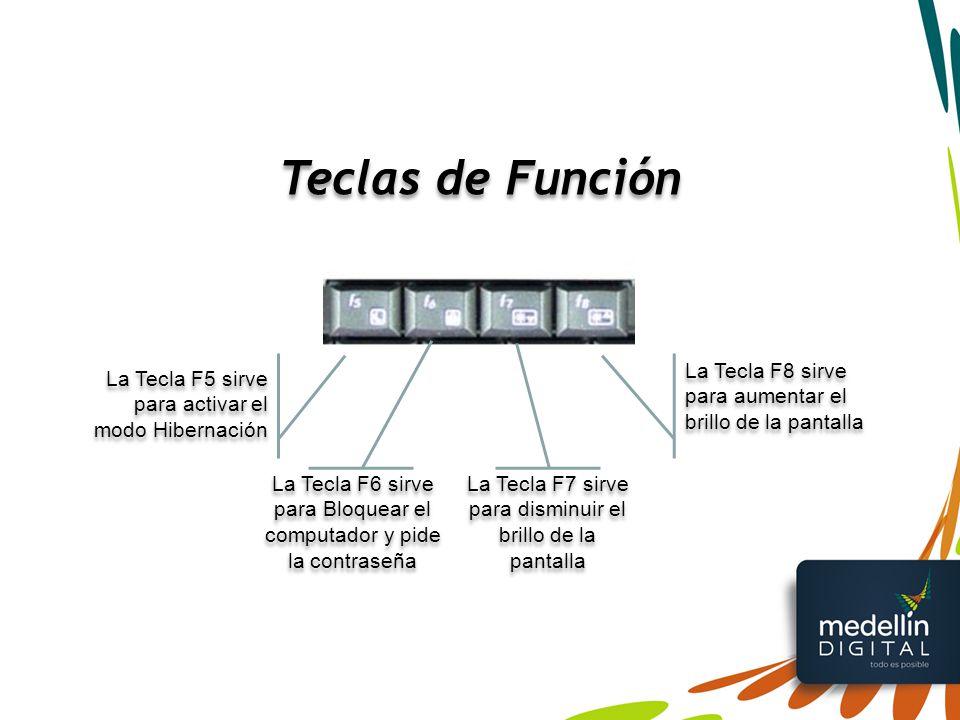 Teclas de Función La Tecla F8 sirve para aumentar el brillo de la pantalla. La Tecla F5 sirve para activar el modo Hibernación.