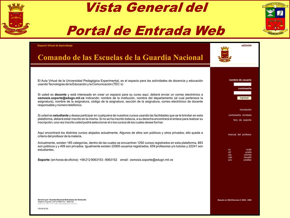 Vista General del Portal de Entrada Web