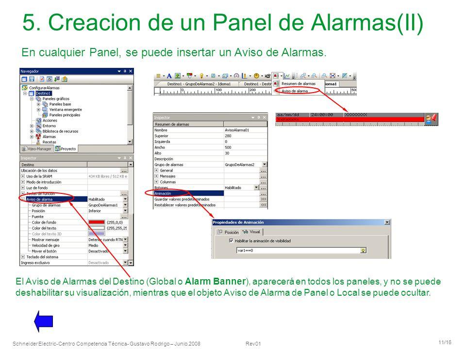 5. Creacion de un Panel de Alarmas(II)