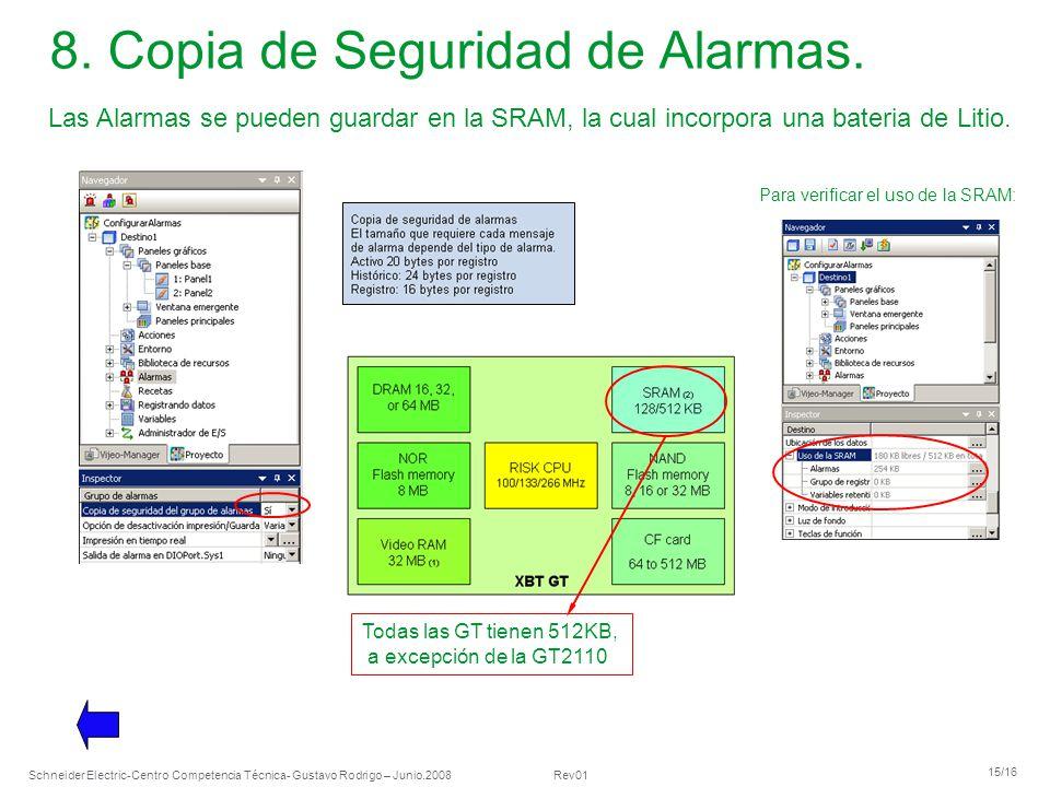 8. Copia de Seguridad de Alarmas.