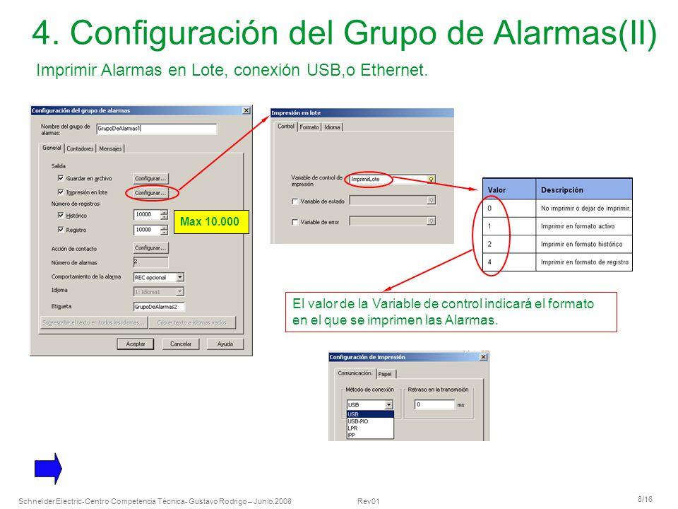 4. Configuración del Grupo de Alarmas(II)