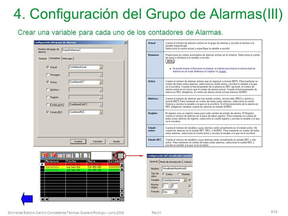 4. Configuración del Grupo de Alarmas(III)
