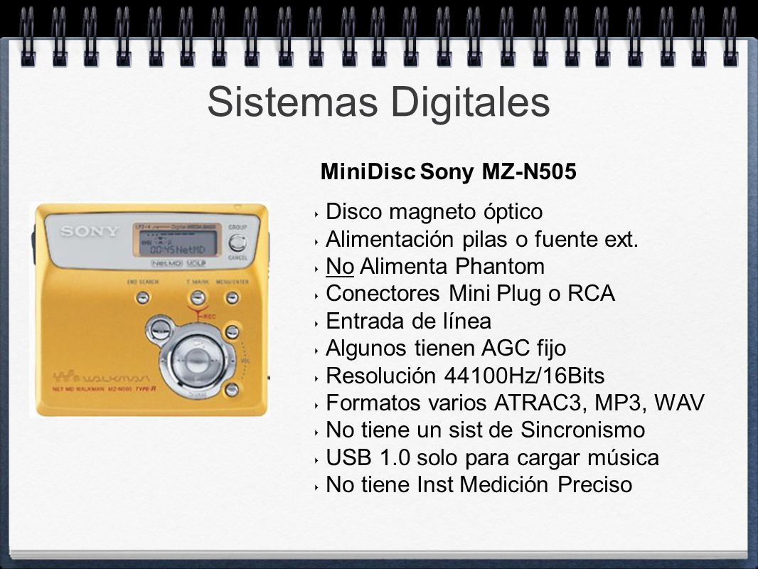 Sistemas Digitales MiniDisc Sony MZ-N505 Disco magneto óptico