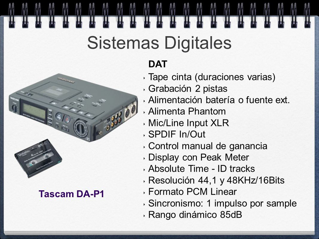 Sistemas Digitales DAT Tape cinta (duraciones varias)