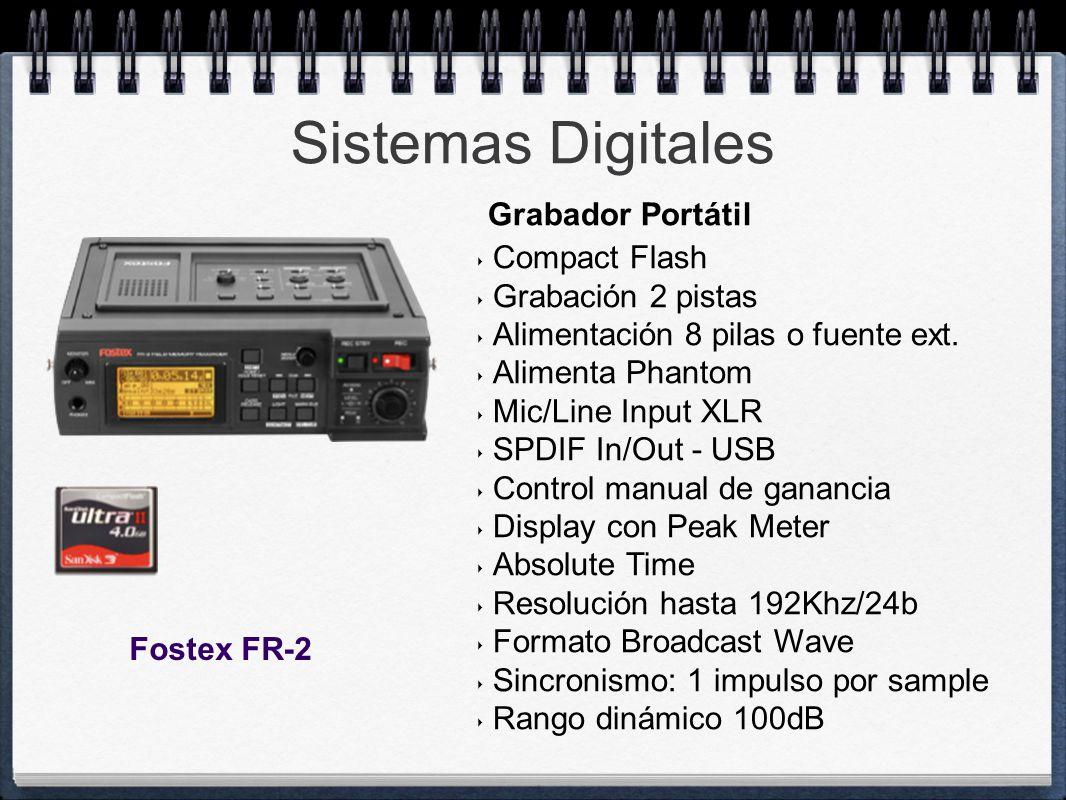 Sistemas Digitales Grabador Portátil Compact Flash Grabación 2 pistas