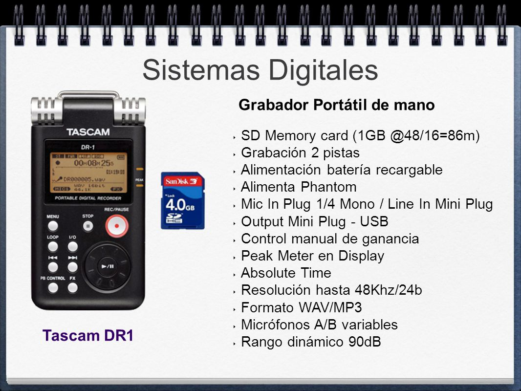 Sistemas Digitales Grabador Portátil de mano Tascam DR1