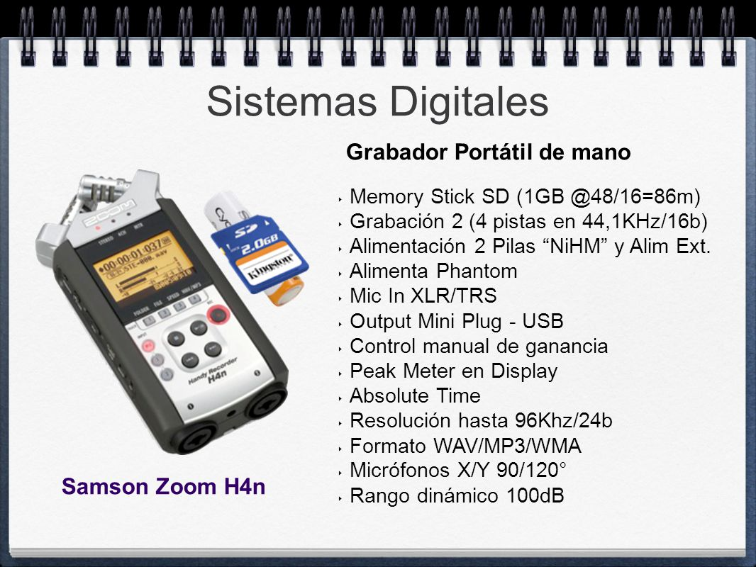 Sistemas Digitales Grabador Portátil de mano Samson Zoom H4n