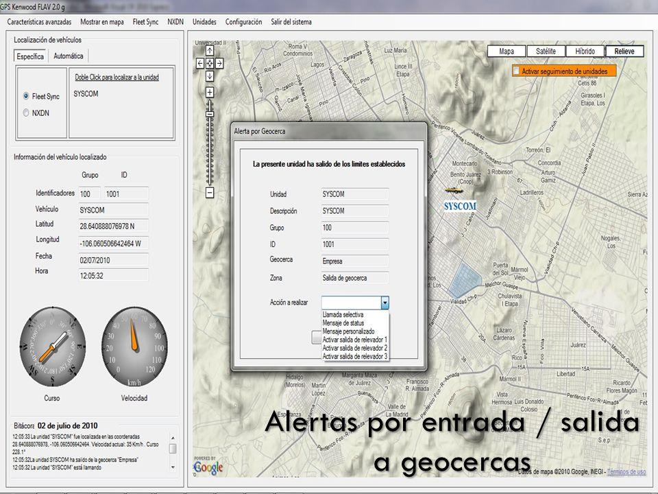 Alertas por entrada / salida a geocercas