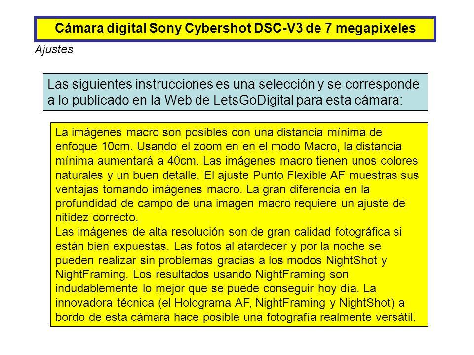 Cámara digital Sony Cybershot DSC-V3 de 7 megapixeles