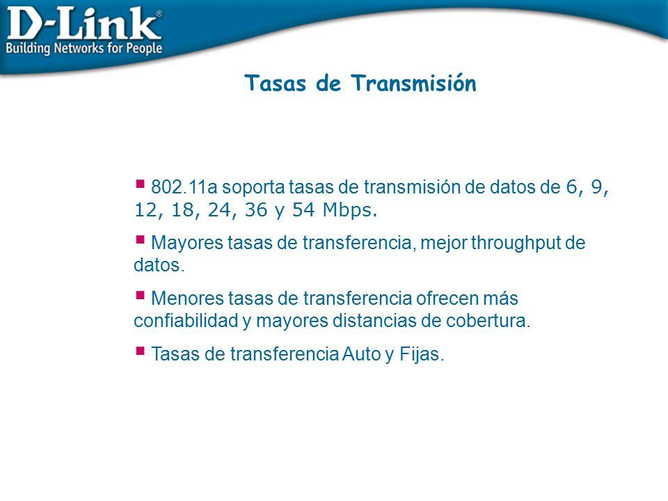Tasas de Transmisión 802.11a soporta tasas de transmisión de datos de 6, 9, 12, 18, 24, 36 y 54 Mbps.