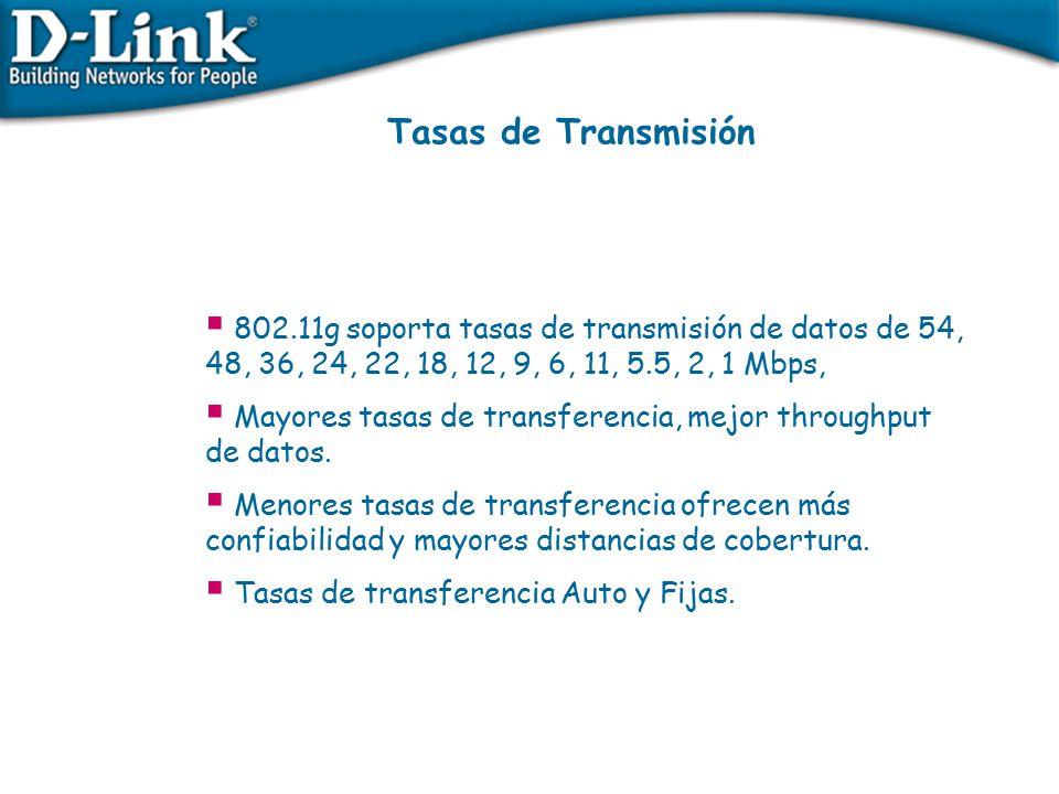 Tasas de Transmisión 802.11g soporta tasas de transmisión de datos de 54, 48, 36, 24, 22, 18, 12, 9, 6, 11, 5.5, 2, 1 Mbps,