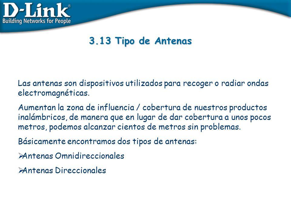 3.13 Tipo de Antenas Las antenas son dispositivos utilizados para recoger o radiar ondas electromagnéticas.