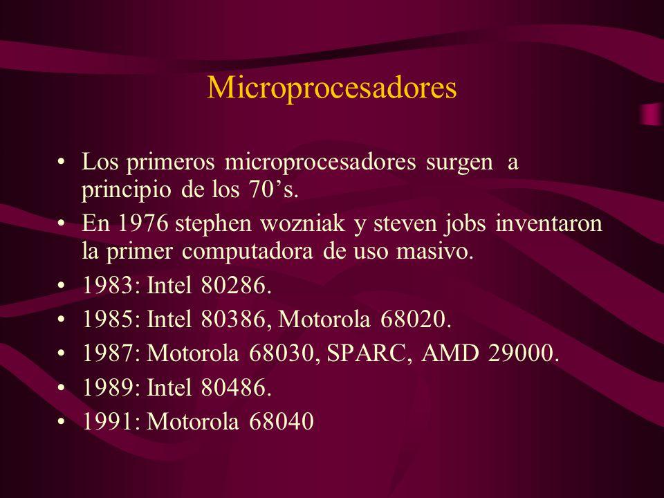 Microprocesadores Los primeros microprocesadores surgen a principio de los 70's.