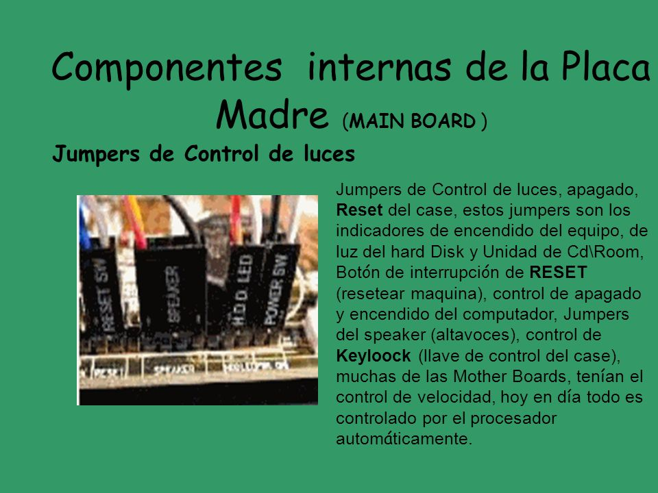 Componentes internas de la Placa Madre (MAIN BOARD )