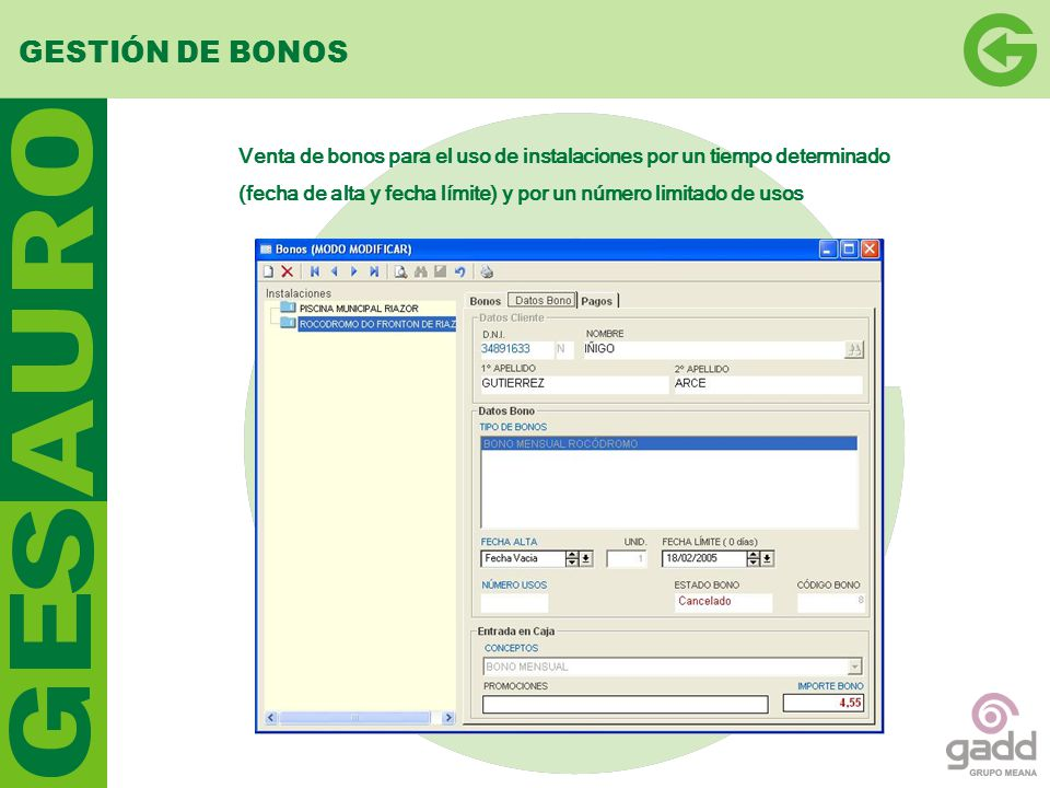 GESTIÓN DE BONOS