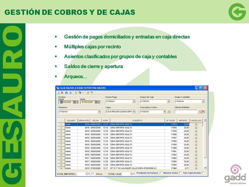 GESTIÓN DE COBROS Y DE CAJAS
