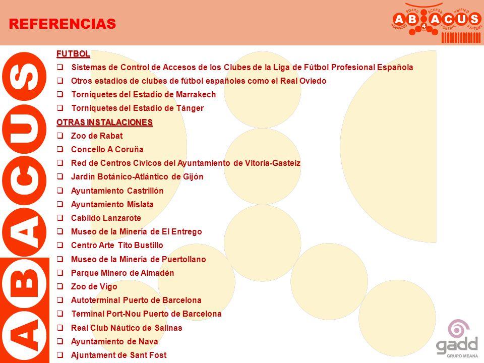 REFERENCIAS FUTBOL. Sistemas de Control de Accesos de los Clubes de la Liga de Fútbol Profesional Española.