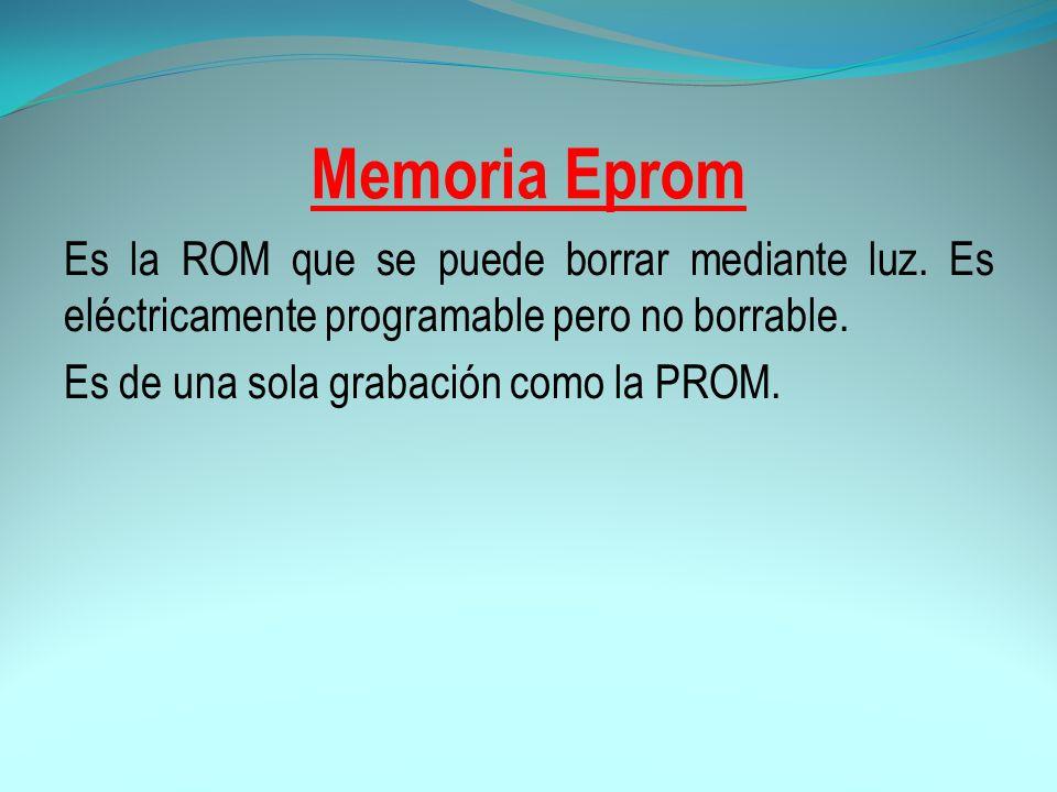 Memoria Eprom Es la ROM que se puede borrar mediante luz.