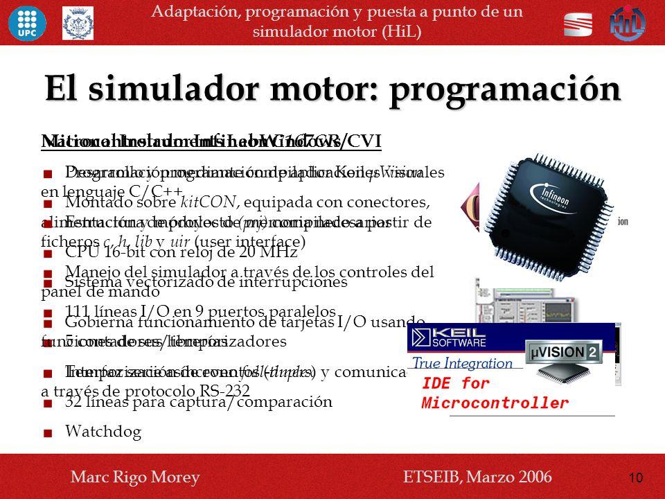 El simulador motor: programación