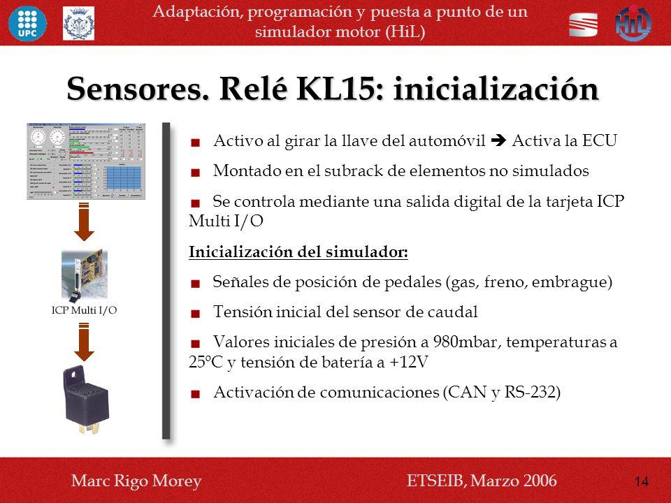 Sensores. Relé KL15: inicialización