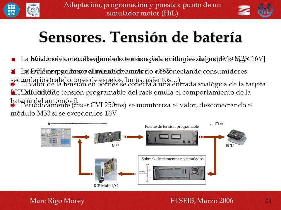 Sensores. Tensión de batería