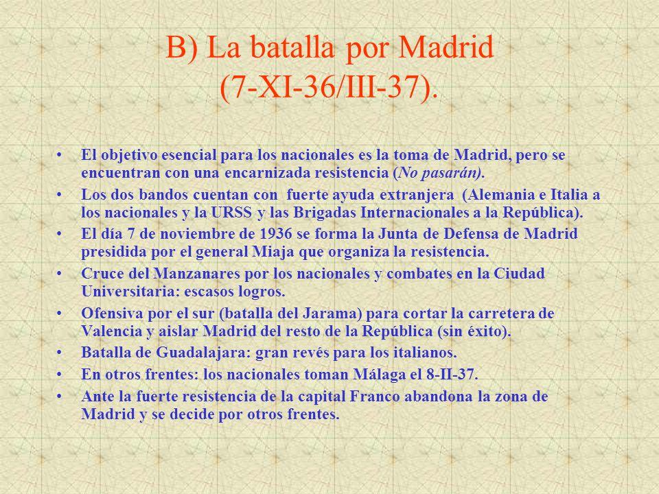 B) La batalla por Madrid (7-XI-36/III-37).