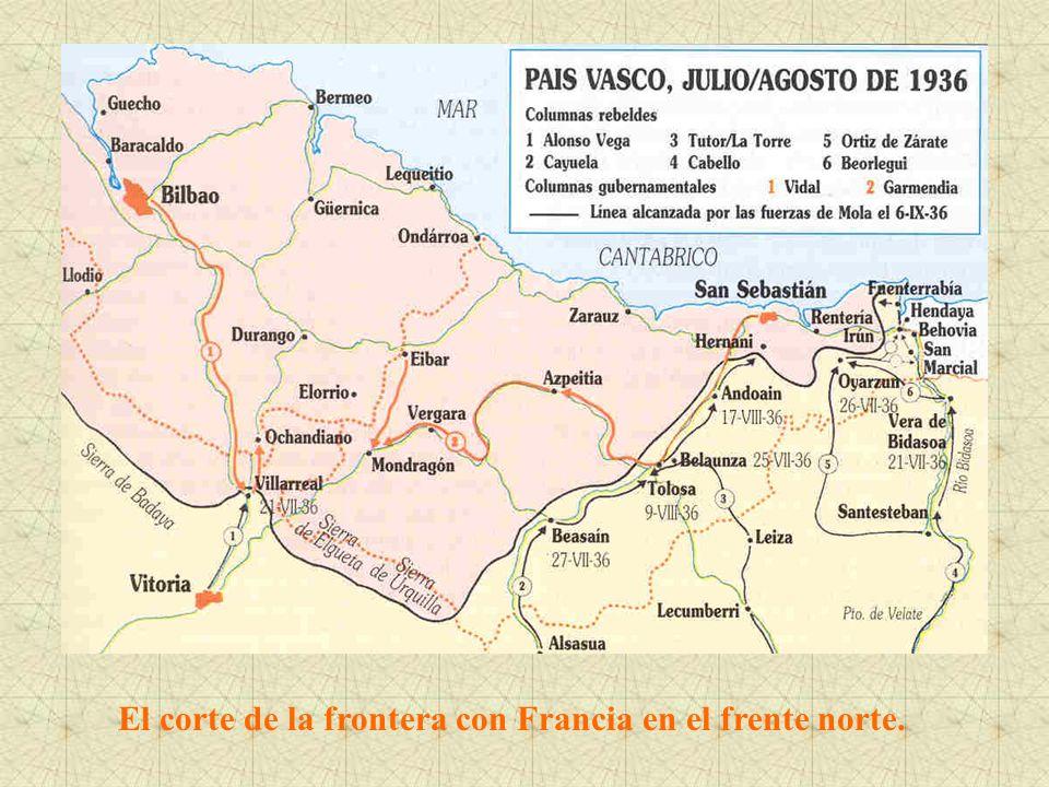 El corte de la frontera con Francia en el frente norte.