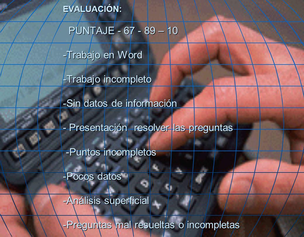 EVALUACIÓN: PUNTAJE - 67 - 89 – 10 -Trabajo en Word -Trabajo incompleto -Sin datos de información - Presentación resolver las preguntas -Puntos incompletos -Pocos datos -Análisis superficial -Preguntas mal resueltas o incompletas