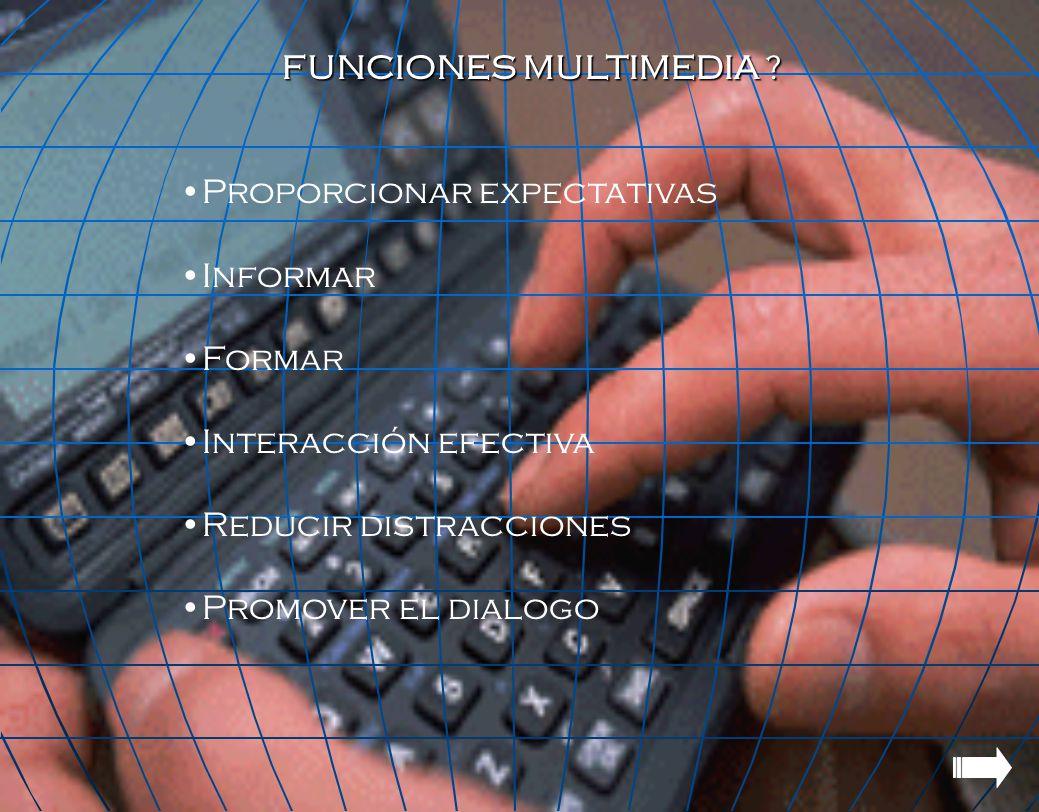 FUNCIONES MULTIMEDIA Proporcionar expectativas. Informar. Formar. Interacción efectiva. Reducir distracciones.