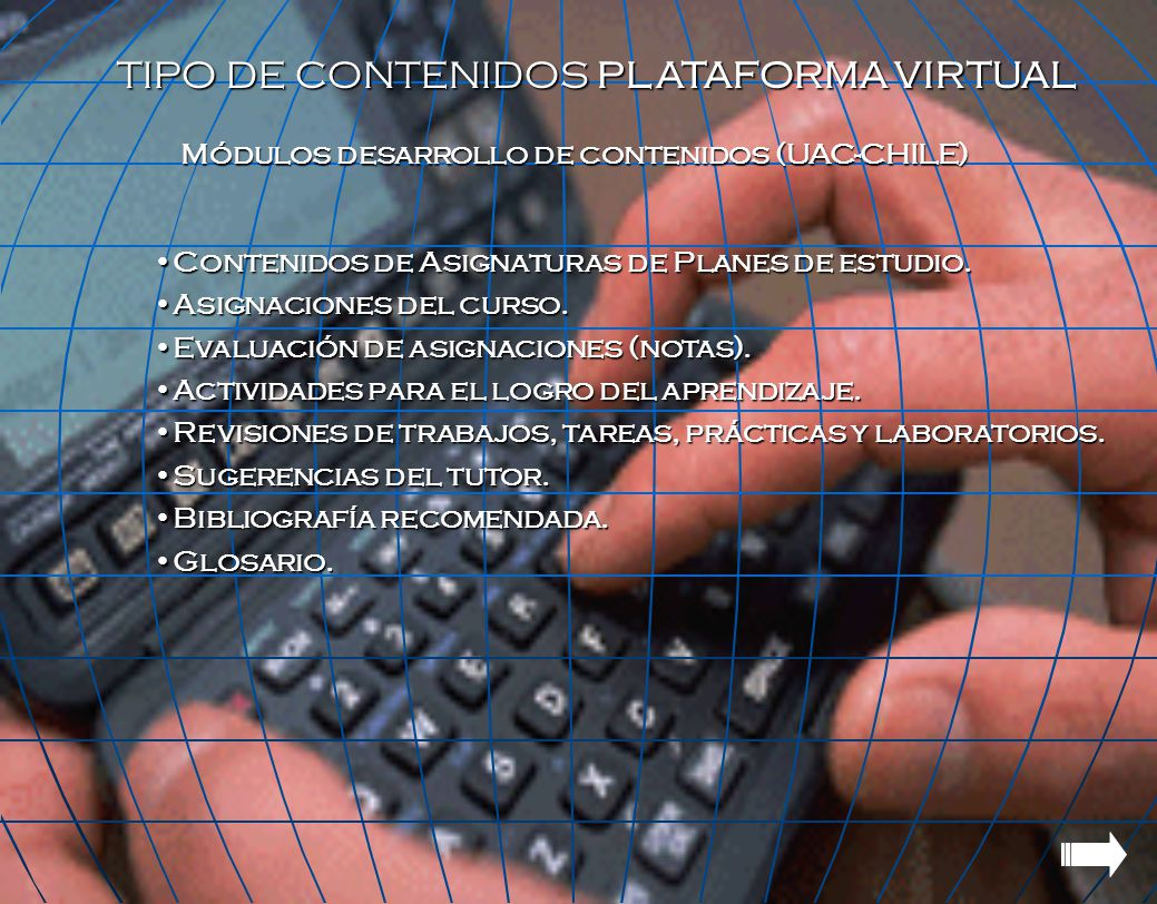 TIPO DE CONTENIDOS PLATAFORMA VIRTUAL