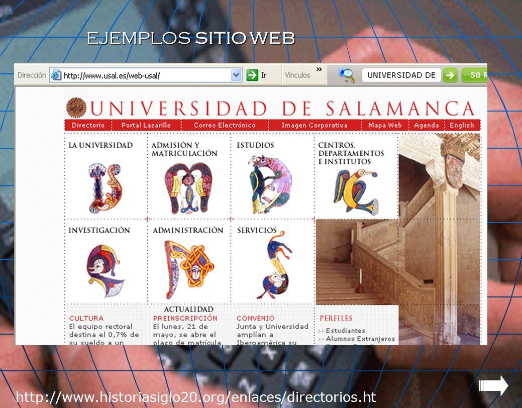 EJEMPLOS SITIO WEB http://www.historiasiglo20.org/enlaces/directorios.htm